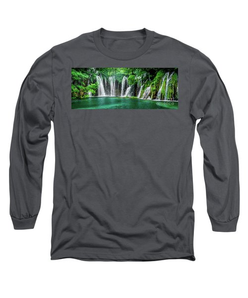 Waterfalls Panorama - Plitvice Lakes National Park Croatia Long Sleeve T-Shirt
