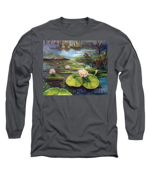 Waterlilies Long Sleeve T-Shirt by Renate Nadi Wesley