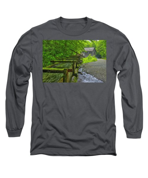 Long Sleeve T-Shirt featuring the photograph Waterworks Mingus Mill Mingus Creek Art  Great Smoky Mountains Art by Reid Callaway