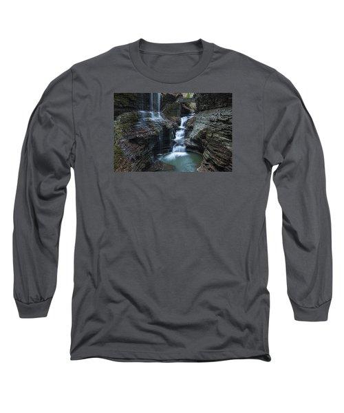 Watkins Glen Rainbow Falls Long Sleeve T-Shirt by Stephen Stookey