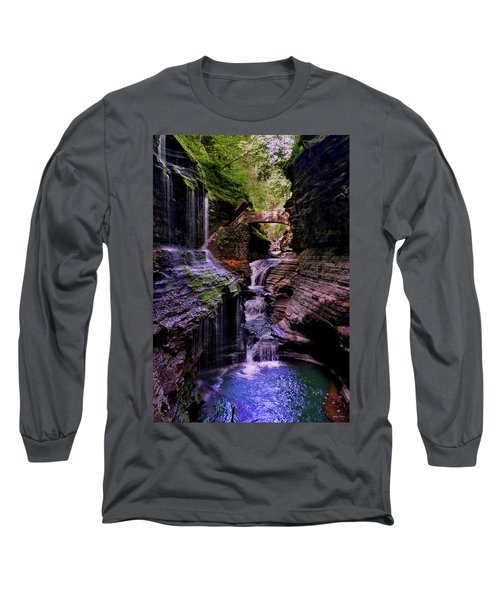 Watkins Glen State Park - Rainbow Falls 002 Long Sleeve T-Shirt