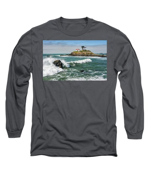 Wave Break And The Lighthouse Long Sleeve T-Shirt by Greg Nyquist