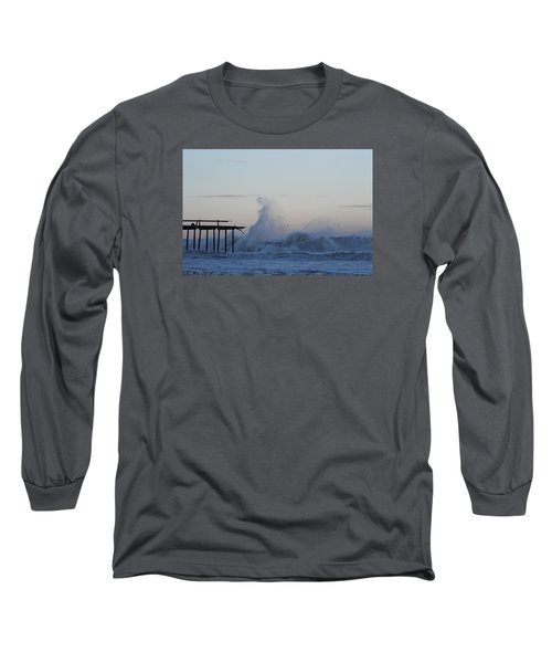 Wave Towers Over Oc Fishing Pier Long Sleeve T-Shirt