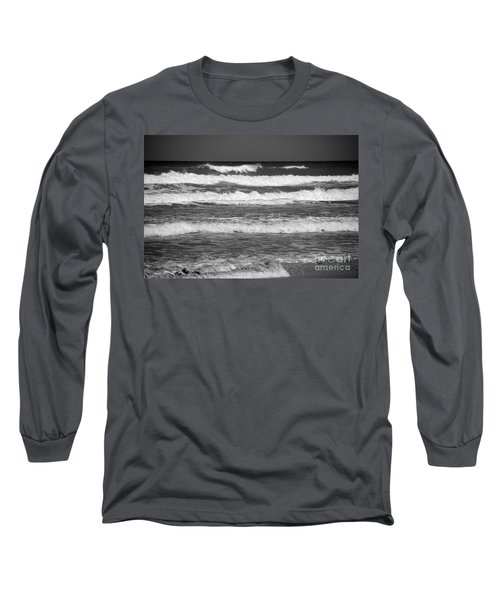 Waves 3 In Bw Long Sleeve T-Shirt