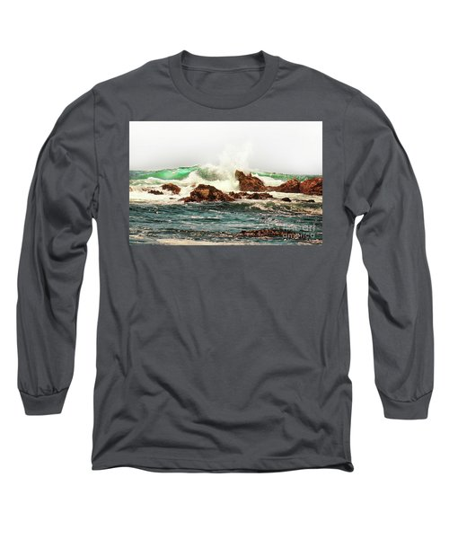 Waves Against The Rocks In Pacific Grove California Long Sleeve T-Shirt