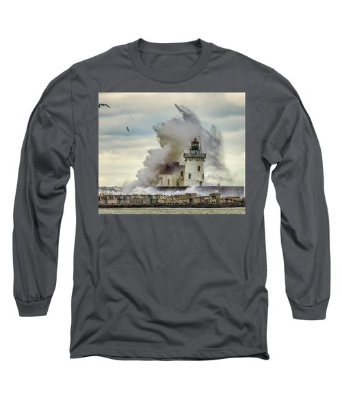 Waves Over The Lighthouse In Cleveland. Long Sleeve T-Shirt