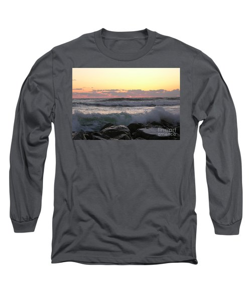 Waves Over The Rocks  5-3-15 Long Sleeve T-Shirt
