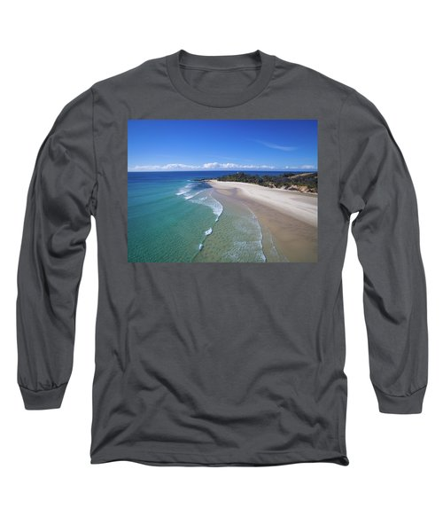 Waves Rolling In To North Point Beach On Moreton Island Long Sleeve T-Shirt