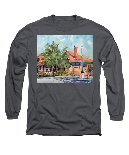 Long Sleeve T-Shirt featuring the painting Waxachie Train Station by Ron Stephens