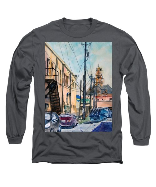 Long Sleeve T-Shirt featuring the painting Waxahachie Back Alley by Ron Stephens