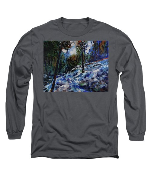 Long Sleeve T-Shirt featuring the painting Way Of The Mono Trail by Walter Fahmy