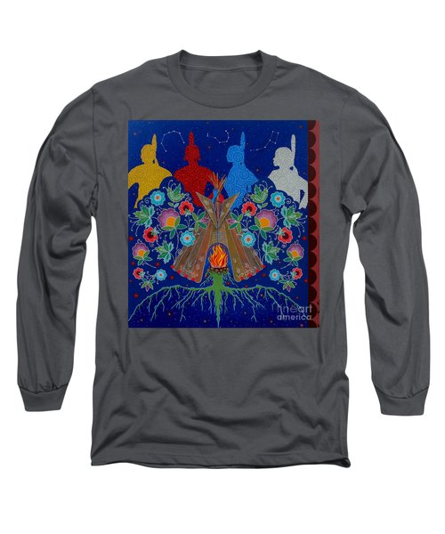 Long Sleeve T-Shirt featuring the painting We Are One Bond by Chholing Taha