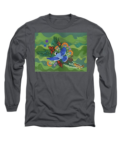 Long Sleeve T-Shirt featuring the painting We Are One by Chholing Taha