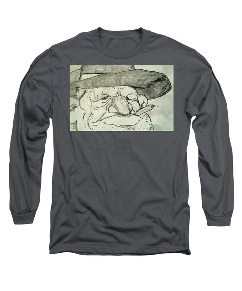 Weathered Old Man Long Sleeve T-Shirt by Yshua The Painter