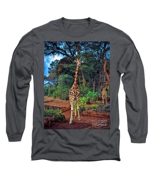 Welcome To Giraffe Manor Long Sleeve T-Shirt by Karen Lewis