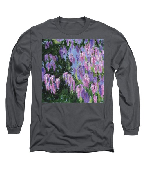 Long Sleeve T-Shirt featuring the painting Wendy's Wisteria by Jamie Frier