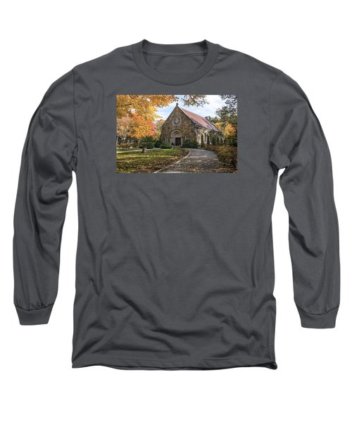 Long Sleeve T-Shirt featuring the photograph West Parish Chapel In Fall, Andover, Ma by Betty Denise