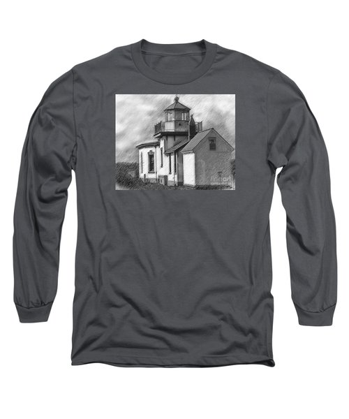 West Point Lighthouse Sketched Long Sleeve T-Shirt by Kirt Tisdale