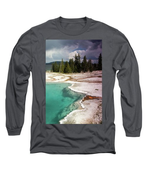 Long Sleeve T-Shirt featuring the photograph West Thumb Geyser Pool by Dawn Romine