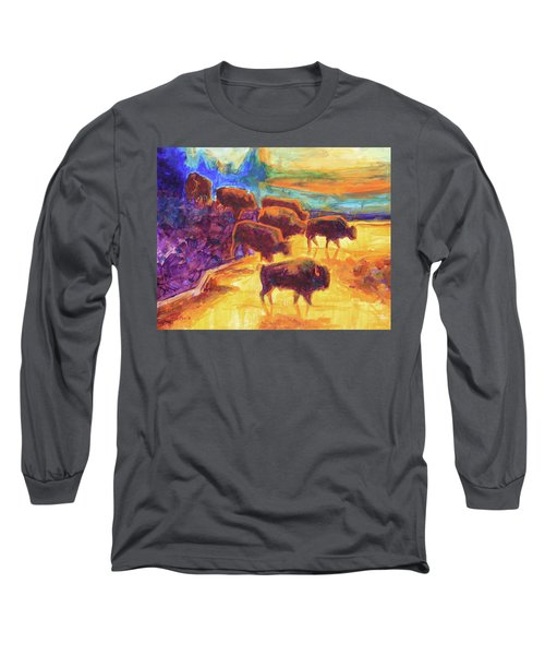 Western Buffalo Art Bison Creek Sunset Reflections Painting T Bertram Poole Long Sleeve T-Shirt by Thomas Bertram POOLE