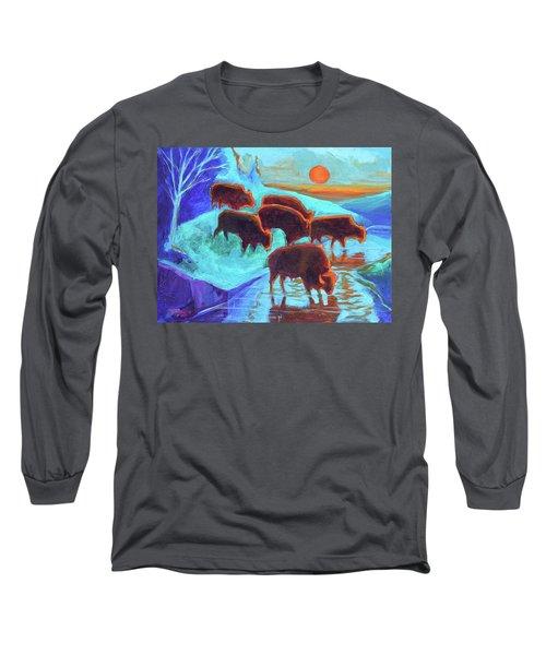Western Buffalo Art Six Bison At Sunset Turquoise Painting Bertram Poole Long Sleeve T-Shirt by Thomas Bertram POOLE