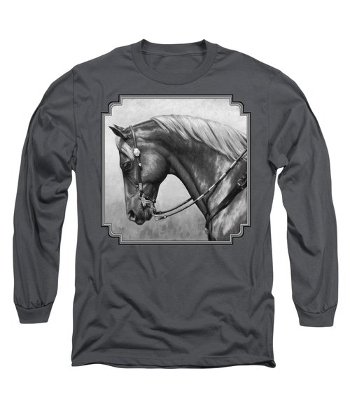 Western Horse Black And White Long Sleeve T-Shirt