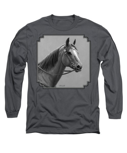 Western Quarter Horse Black And White Long Sleeve T-Shirt by Crista Forest