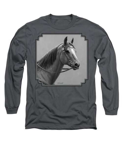 Western Quarter Horse Black And White Long Sleeve T-Shirt