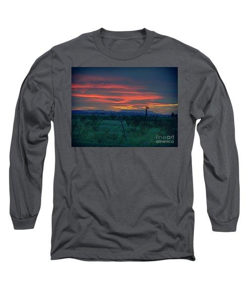 Western Texas Sunset Long Sleeve T-Shirt