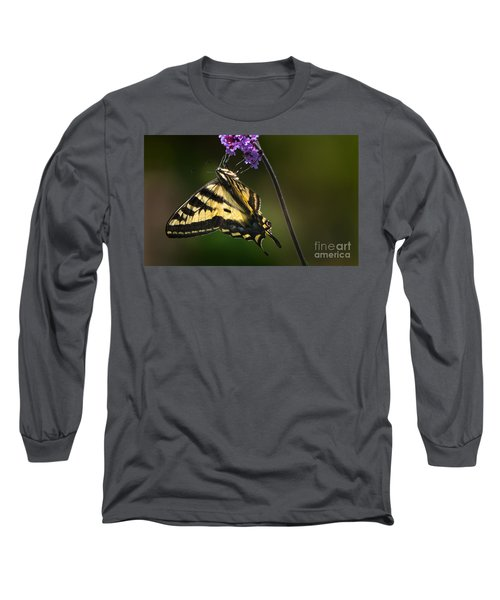Western Tiger Swallowtail Butterfly On Purble Verbena Long Sleeve T-Shirt