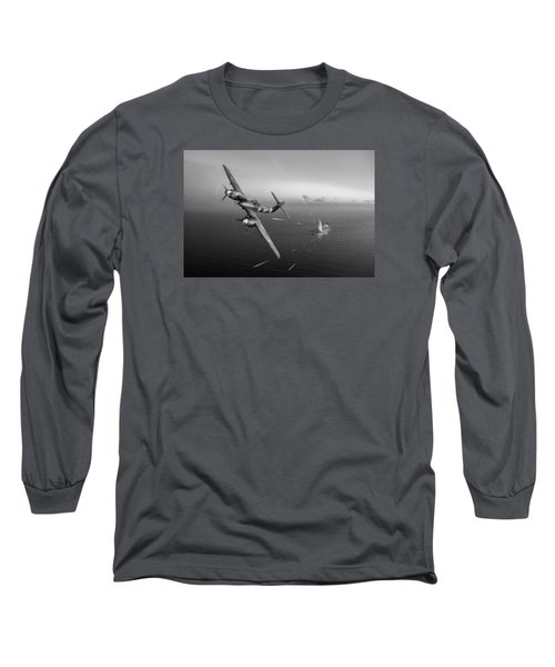 Long Sleeve T-Shirt featuring the photograph Westland Whirlwind Attacking E-boats Black And White Version by Gary Eason