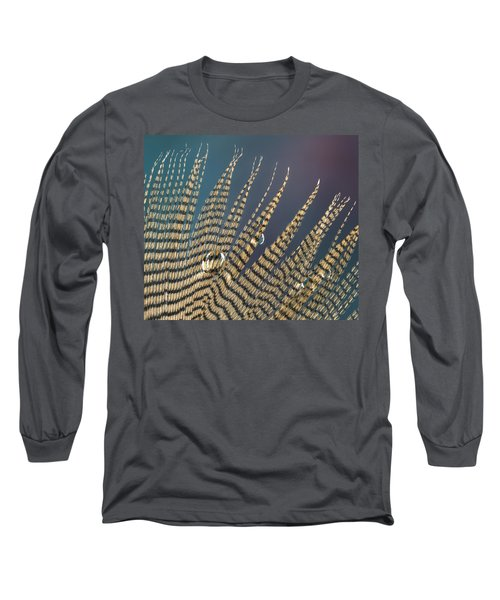 Wet Drop On Wood Duck Feather Long Sleeve T-Shirt by Jean Noren
