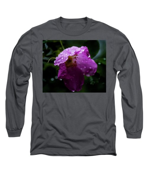 Long Sleeve T-Shirt featuring the photograph Wet Wild Rose by Darcy Michaelchuk