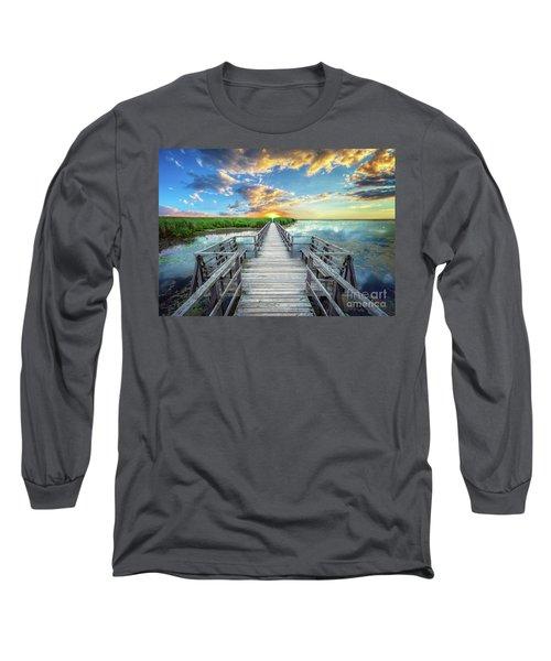 Wetland Marsh Sunrise Treasure Coast Florida Boardwalk A1 Long Sleeve T-Shirt