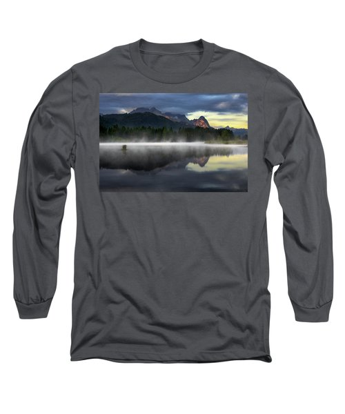 Wetterstein Mountain Reflection During Autumn Day With Morning Fog Over Geroldsee Lake, Bavarian Alps, Bavaria, Germany. Long Sleeve T-Shirt