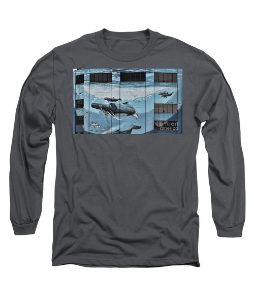 Whale Deco Building  Long Sleeve T-Shirt by Chuck Kuhn