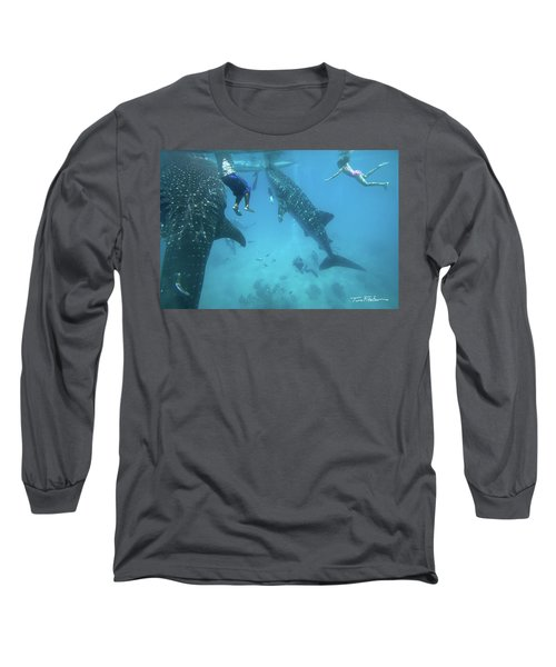 Whale Sharks Long Sleeve T-Shirt by Tim Fitzharris