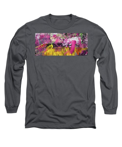 Whatever Makes You Happy - Large Pink And Yellow Abstract Painting Long Sleeve T-Shirt
