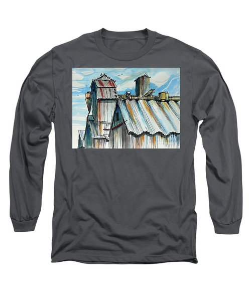 Long Sleeve T-Shirt featuring the painting Wheatland High Rise by Terry Banderas