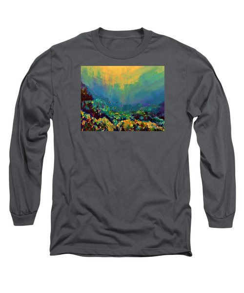 When The Sun Is Looking Into The Sea Long Sleeve T-Shirt by AmaS Art