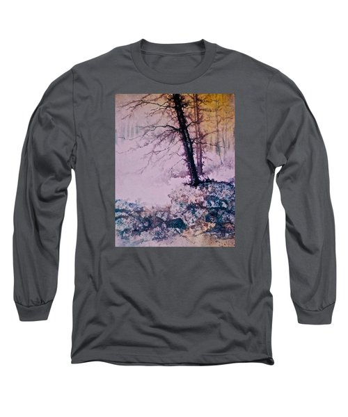 Long Sleeve T-Shirt featuring the painting Whispers In The Fog  Partii by Carolyn Rosenberger