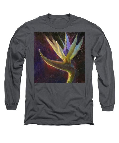 Long Sleeve T-Shirt featuring the painting White Bird Of Paradise -tropical Flower Painting by Karen Whitworth