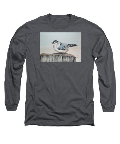 White Breasted Nuthatch Long Sleeve T-Shirt by Carole Robins