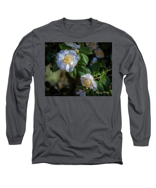 Long Sleeve T-Shirt featuring the photograph White Camelia 02 by Gregory Daley  PPSA