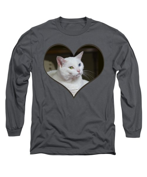 White Cat On A Transparent Heart Long Sleeve T-Shirt