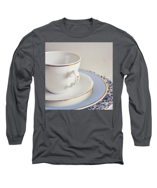 Long Sleeve T-Shirt featuring the photograph White China Cup, Saucer And Plates by Lyn Randle