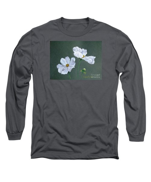 White Cosmos Long Sleeve T-Shirt by Phyllis Howard