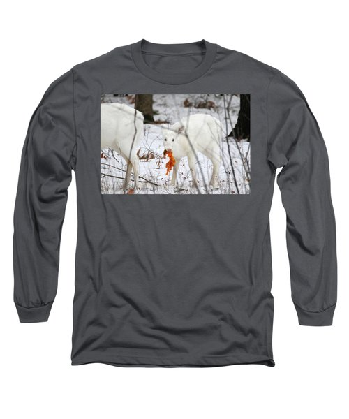 White Deer With Squash 5 Long Sleeve T-Shirt by Brook Burling