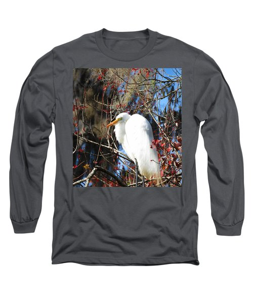 White Egret Bird Long Sleeve T-Shirt