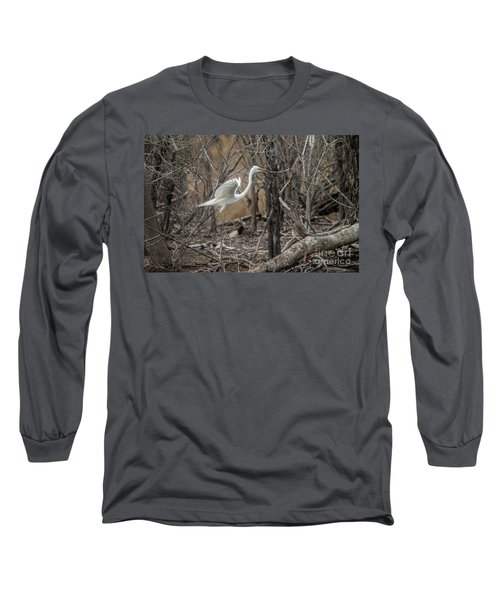 Long Sleeve T-Shirt featuring the photograph White Egret by David Bearden